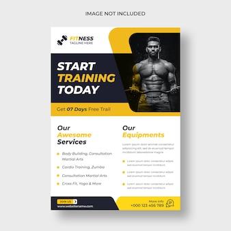 Modelo de folheto de treino de fitness