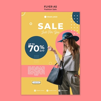 Modelo de folheto de venda de moda
