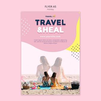 Modelo de folheto de viagens e férias