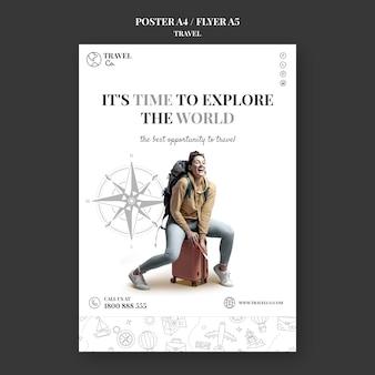 Modelo de folheto de viagens pelo mundo