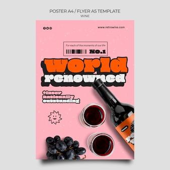 Modelo de folheto de vinho de estilo retro