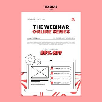 Modelo de folheto de webinar on-line de evento