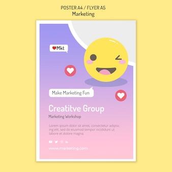 Modelo de folheto de workshop de marketing com emoji