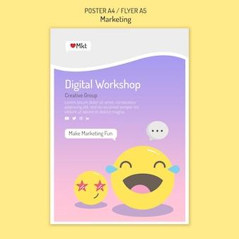 Modelo de folheto de workshop de marketing com emojis