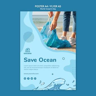 Modelo de folheto - dia mundial do oceano