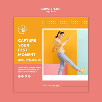 Modelo de folheto digitalismo colorido com foto