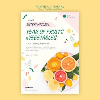Modelo de folheto do ano de frutas e vegetais