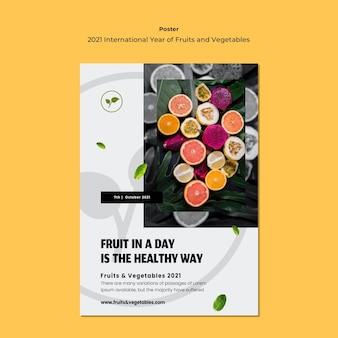 Modelo de folheto do ano internacional de frutas e legumes