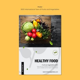 Modelo de folheto do ano internacional de frutas e legumes Psd grátis
