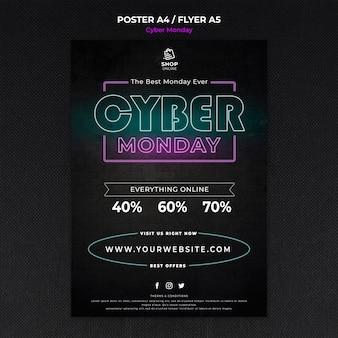 Modelo de folheto do conceito cyber monday
