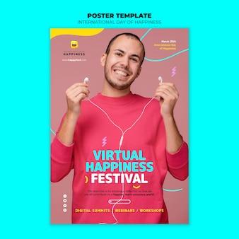 Modelo de folheto do dia internacional da felicidade com foto