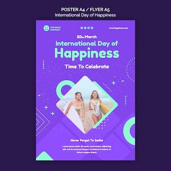 Modelo de folheto do dia internacional da felicidade