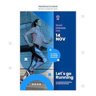 Modelo de folheto do dia mundial da diabetes