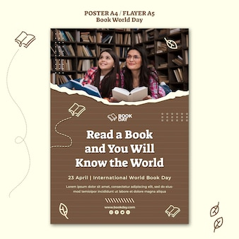Modelo de folheto do dia mundial do livro