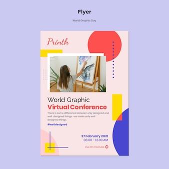 Modelo de folheto do dia mundial dos gráficos