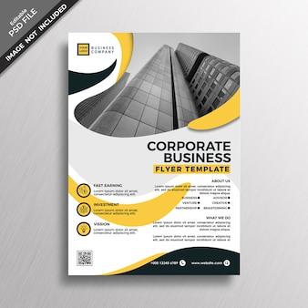 Modelo de folheto do negócio abstrato amarelo estilo corporativo