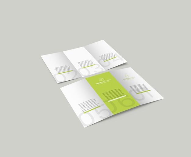 Modelo de folheto dobrável em três partes
