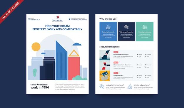Modelo de folheto - dois lados do setor imobiliário