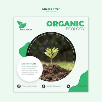 Modelo de folheto ecológico quadrado