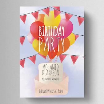 Modelo de folheto - festa de aniversário