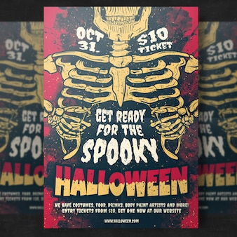 Modelo de folheto - festa de esqueleto halloween