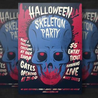 Modelo de folheto - festa de halloween do crânio