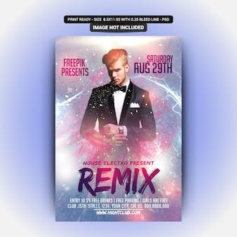 Modelo de folheto - festa de remix