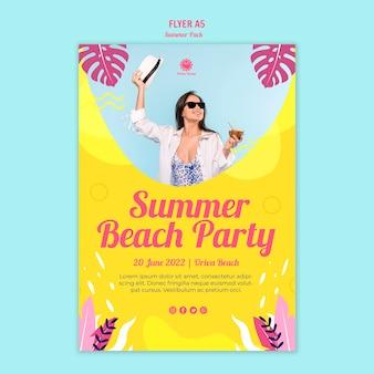 Modelo de folheto - festa na praia verão