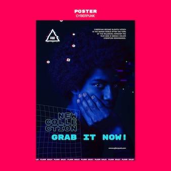Modelo de folheto futurista cyberpunk com foto