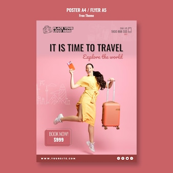 Modelo de folheto - hora de viajar