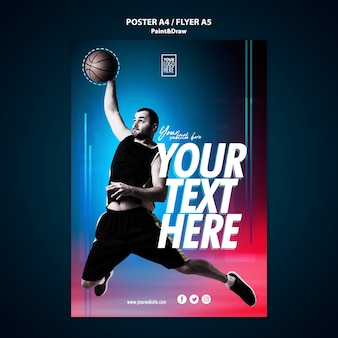Modelo de folheto - jogador de basquete
