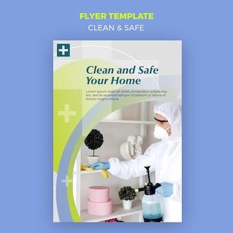 Modelo de folheto limpo e seguro