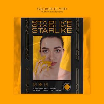 Modelo de folheto - marca minimalista em forma de estrela