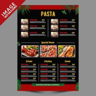 Modelo de folheto - menu comida verso