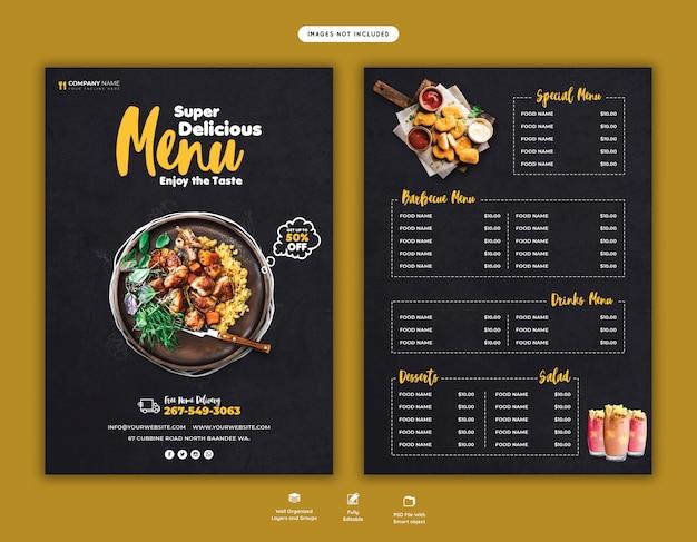 Modelo de folheto - menu de comida e restaurante