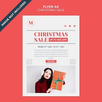 Modelo de folheto minimalista de venda de natal