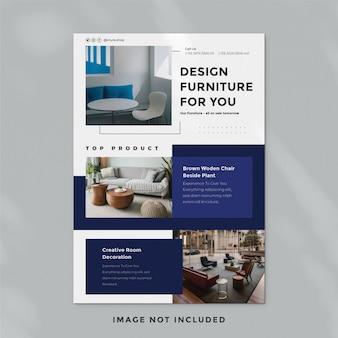 Modelo de folheto - mobiliário minimalista