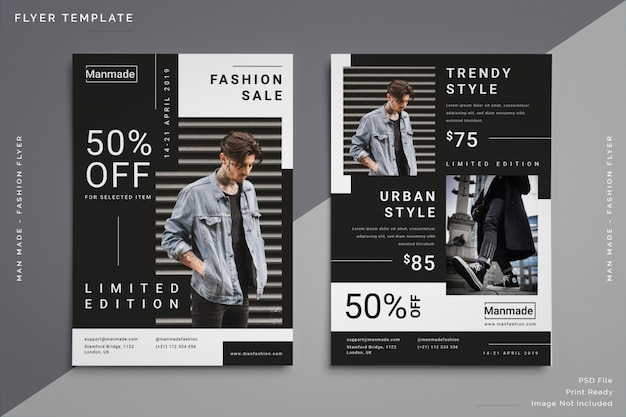Modelo de folheto - moda masculina