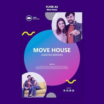 Modelo de folheto - mover serviços de logística da casa