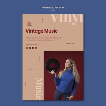 Modelo de folheto - música vintage de vinil