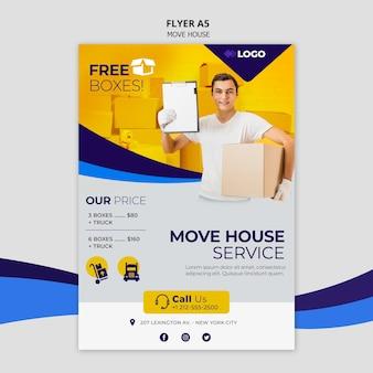 Modelo de folheto - negócio de casa em movimento