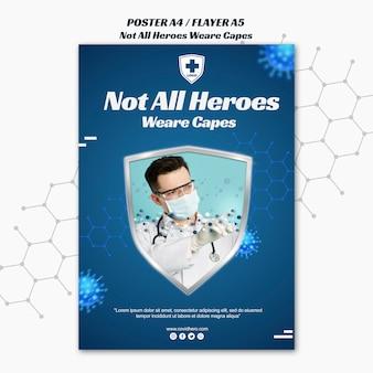 Modelo de folheto - nem todos os heróis usam capas