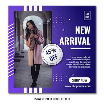 Modelo de folheto ou banner quadrado para lojas de moda