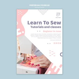 Modelo de folheto ou cartaz de curso de costura