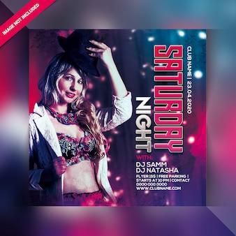 Modelo de folheto ou cartaz de festa sábado à noite