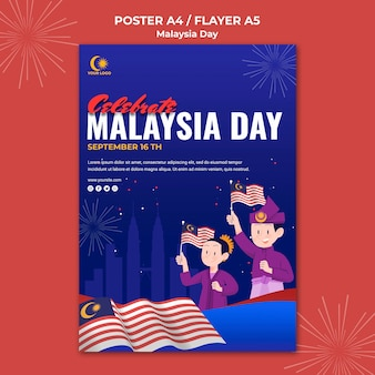 Modelo de folheto para a celebração do dia da malásia