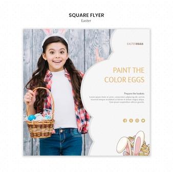 Modelo de folheto para a páscoa com criança usando orelhas de coelho e segurando cesta