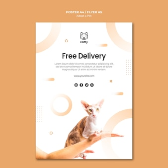 Modelo de folheto para adoção de um animal de estimação