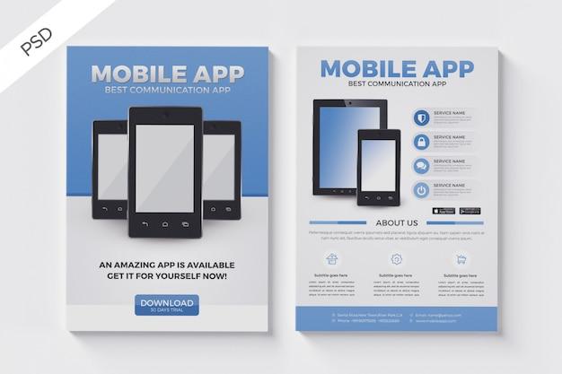 Modelo de folheto para aplicativos móveis, layout de folheto de brochura de negócios