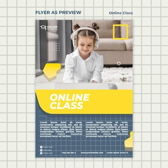 Modelo de folheto para aulas online com crianças